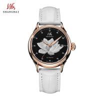 上海手表全自动机械表女表复古真皮日历夜光间金休闲品质女表667