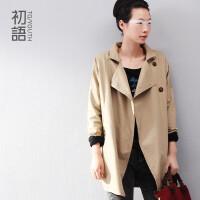 初语女装新款蝙蝠袖简约宽松风衣外套单排扣中长款女8430612013