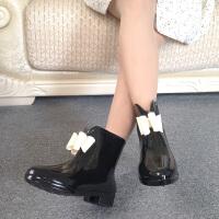 【支持礼品卡支付】女士雨靴韩版防滑尖头蝴蝶结雨鞋女生短筒雨靴塑胶时尚水鞋