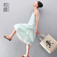 初语 冬装新款 民族风条纹两件式A型连衣裙 圆领背心裙8422442076