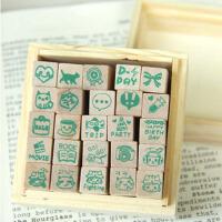 快乐生活木盒装卡通图案日记印章 可爱图案 一套25枚