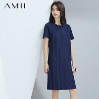 【AMII超级大牌日】[极简主义] 2016夏新品风琴压褶贴袋短袖大码连衣裙11671391