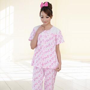 金丰田夏季女士短袖休闲睡衣家居服套装1545