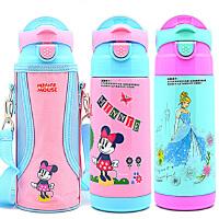 包邮!迪士尼 儿童吸管保温杯380ML 吸管儿童杯子 便携水壶 配杯套