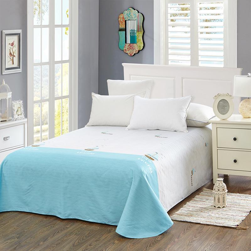 当当优品 纯棉斜纹床上用品 床单250*230cm 波尔尼(蓝)当当自营 100%纯棉 不易褪色 0甲醛 透气防潮 大尺寸