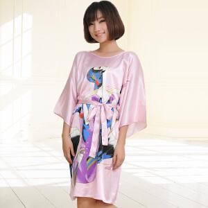 睡衣金丰田夏季新款女士仿真丝睡裙 宽松蝙蝠裙家居服1589