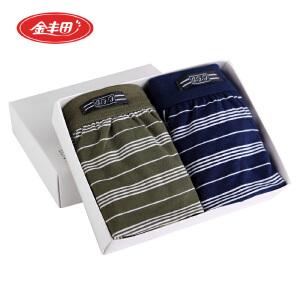 2条装    金丰田男士棉质男平角裤 棉质莱卡男式条纹内裤3101