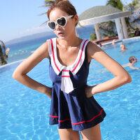 泳衣 时尚学生范分体平角女士泳衣