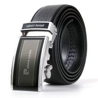 皮尔卡丹Pierrecardin新款精英品质男士牛皮自动扣皮带P001G1黑色