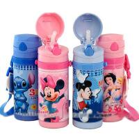包邮!迪士尼 Disney  吸管保温杯 3412 防漏保温软吸管杯  儿童背带水壶 保温杯400ML
