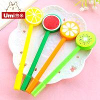umi韩国创意文具可爱水果棒棒糖中性笔 0.5黑色学生用水笔签字笔