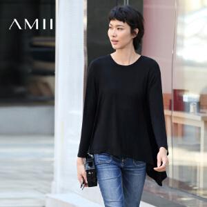 【AMII超级大牌日】[极简主义]2017年春季纯色长袖宽松不规则大码黑T恤女11673200