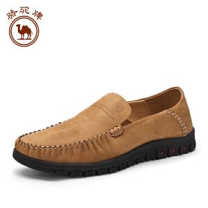 骆驼牌男鞋 头层牛皮休闲皮鞋 套脚男鞋低帮鞋