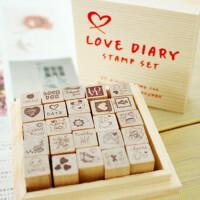 韩国LOVE木制儿童彩色印台印章无印泥DIY日记+木盒25枚 爱