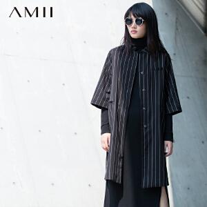 【AMII超级大牌日】[极简主义]2017年春新品竖条纹插袋中袖字母印花外套11591569