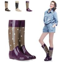 女士雨靴毛绒里高筒雨鞋优质环保全橡胶时尚印花蝴蝶高筒雨靴