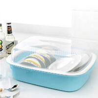 双庆 带盖密封双层沥水碗碟架大号碗柜厨房碗碟沥水置物架滴水透明碗架 韩式碗架