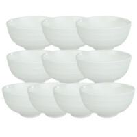 4英寸双线饭碗 10只 纯白餐具米饭碗韩式饭碗瓷碗陶瓷小碗