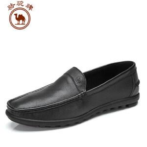 骆驼牌男鞋 头层牛皮休闲皮鞋 套脚皮鞋