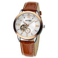 2017年新款 EYKI艾奇 商务时尚皮带表 镂空潮流表 机械表 男士手表 金色 8622