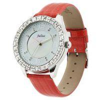 2017新款 Julius/聚利时 鳄鱼皮纹表带女士手表  璀璨水晶女表 JA-379 红色