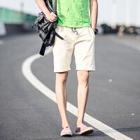 韩版夏季亚麻裤宽松马裤休闲裤棉麻短裤潮男裤子中裤五分裤