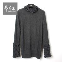 红莲 2015秋季新品时尚蕾丝花边高领针织衫
