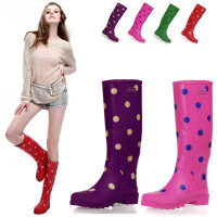 女式雨靴时尚印花高筒雨靴多色圆点雨鞋水鞋水靴
