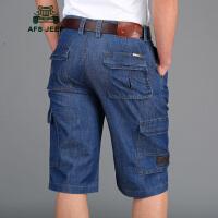 战地吉普AFS JEEP夏季新款牛仔短裤 牛仔七分裤 牛仔多袋裤 夏季薄款中裤男休闲裤