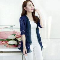 新款韩版外搭开衫镂空中长款薄外套 防晒衣女装薄针织衫