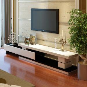 美达斯 电视柜 烤漆电视柜 高档伸缩电视柜 客厅简约电视机柜 白黑色组合地柜