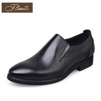 宾度男鞋新品爸爸鞋子套脚办公室男士皮鞋英伦商务正装鞋