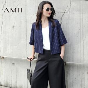 【AMII超级大牌日】[极简主义]2017年春女新款撞色竖条纹宽松短款西装外套11672011