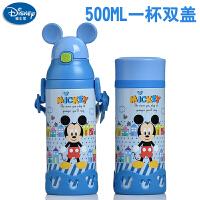 包邮!迪士尼米奇吸管保温杯 500ml 一壶双盖 宝宝学饮杯婴儿童水杯 蓝色