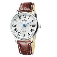 艾奇(EYKI)复古时尚皮带防水石英表情侣表 精准罗马刻度 真皮材质 日历显示手表男表 8659