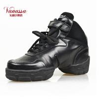 瓦娜沙vanassa羊皮舞蹈鞋健身鞋现代舞鞋街舞鞋V08黑色