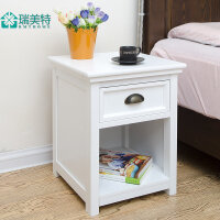 瑞美特现代简约欧式白色床头柜储物柜田园卧室床边柜电话桌边角柜