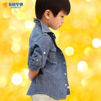 2016英格里奥童装 秋冬男童纯棉 青年布牛仔两穿长袖衬衫10201