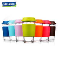 GlassLock/三光云彩 乐扣钢化玻璃水杯带盖杯办公茶杯4色随机