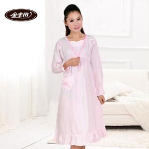 金丰田女士棉质睡裙 春秋长款纯色睡裙1310