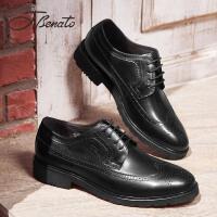 宾度英伦男鞋春季商务正装鞋男系带布洛克雕花鞋子男青年皮鞋潮鞋