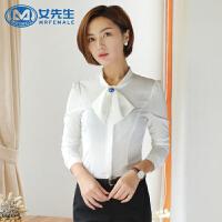 女先生长袖衬衫蝴蝶结正装修身显瘦女装大码OL气质职业装打底