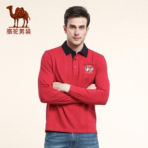 CAMEL 骆驼男装 新款  撞色翻领休闲t恤 男士商务长袖棉质T恤衫