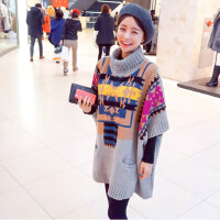 2015 秋冬新品时尚北欧色块宽松加大小宽松女式大码高领蝙蝠袖毛衣