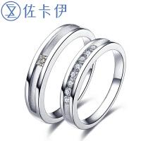 佐卡伊白金钻石情侣对戒结婚对戒指 何以笙箫默同款