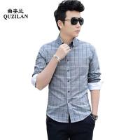 2016新款春装男士衬衫韩版修身方格拼接潮男长袖衬衣DJ41
