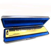 支持货到付款 乐器 奇美24孔C调镀钛专业口琴(金色)--生日礼物 QM-2506