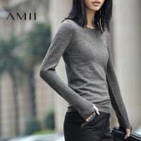 【AMII】[极简主义]春秋百搭修身圆领套头纯色大码修身长袖毛衣女