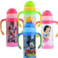 迪士尼 Disney  5646 婴儿学饮杯 软吸管不锈钢保温杯 宝宝手柄杯 320ML 粉公主