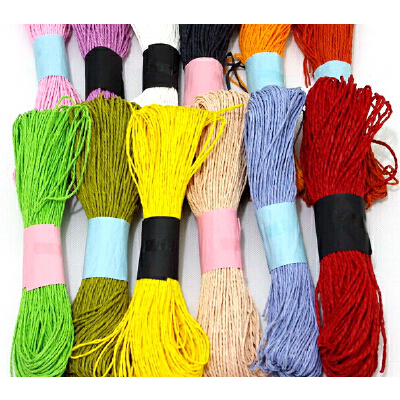 diy手工材料 彩色纸藤 细纸绳 幼儿园编织纸绳 12色套装